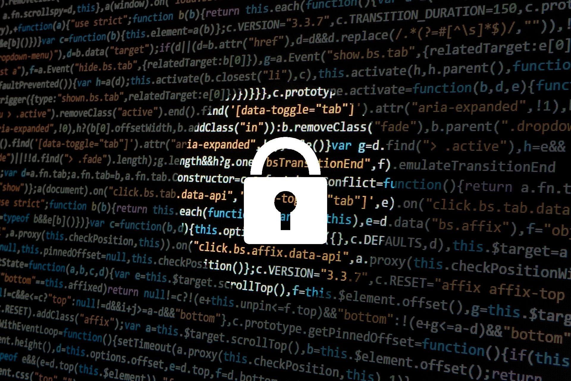 Códigos de programação com um cadeado
