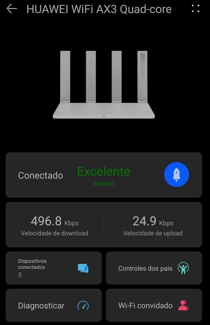 Tela de monitoramento do roteador Huawei AX3 Quad-Core pelo aplicativo Al Life