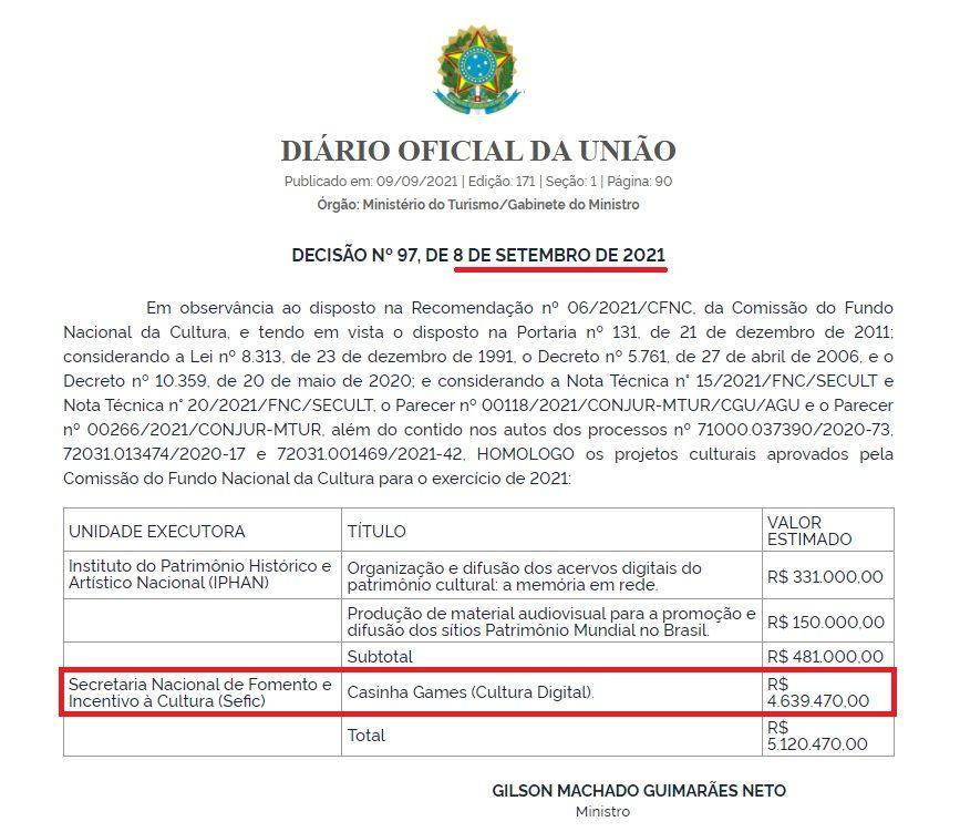 Publicação Diário Oficial da União de 8 de Setembro de 2021